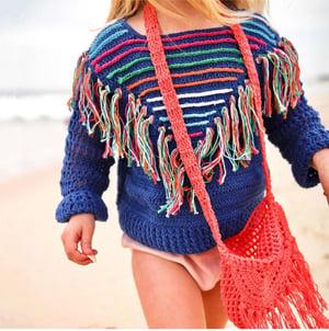 Image of Crochet Jumper - Mustard - Emerald - Blue Rainbow