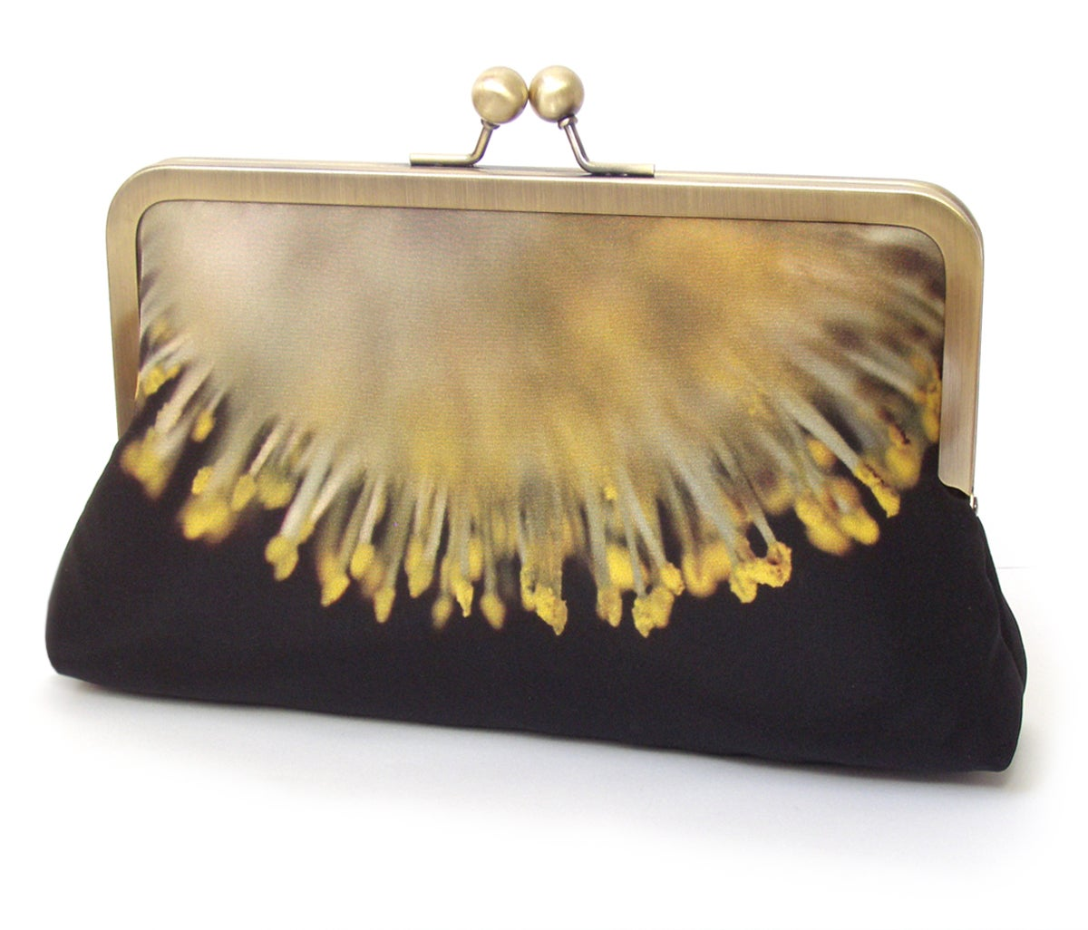 Image of Yellow sunburst clutch bag, flower catkins purse handbag