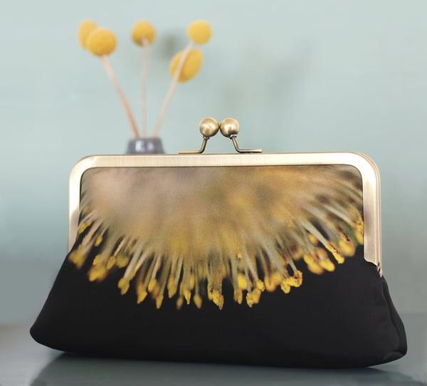 Yellow sunburst clutch bag, flower catkins purse handbag - Red Ruby Rose