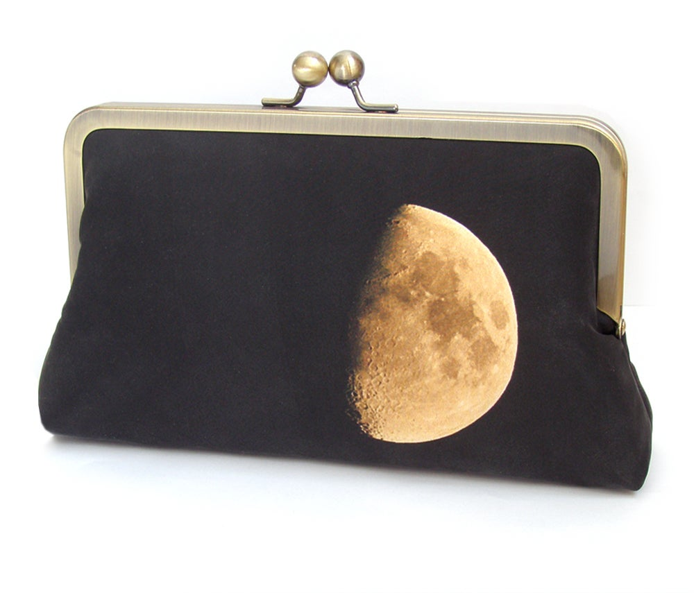 Image of Clutch bag, moon lunar purse, black and yellow printed silk handbag