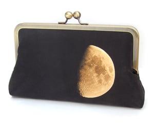 Clutch bag, moon lunar purse, black and yellow printed silk handbag - Red Ruby Rose