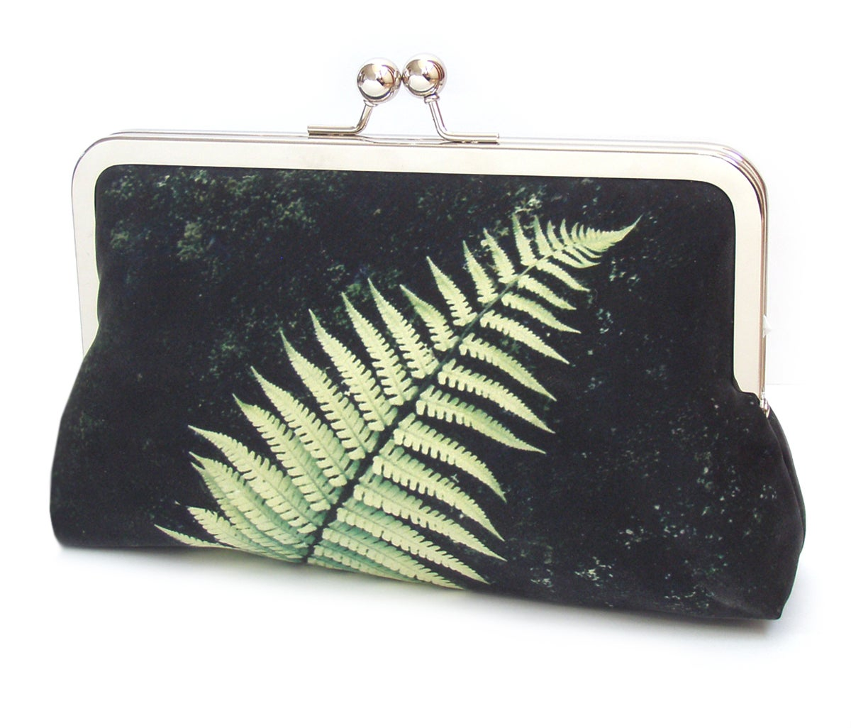 Image of Green fern silk clutch bag, bracken frond purse