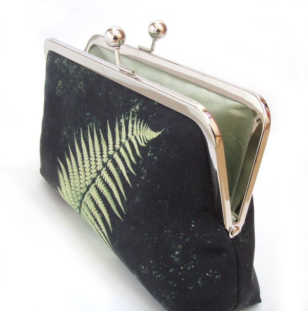 Fern clutch bag, silk purse, bracken frond, green, black, woodland wedding - Red Ruby Rose