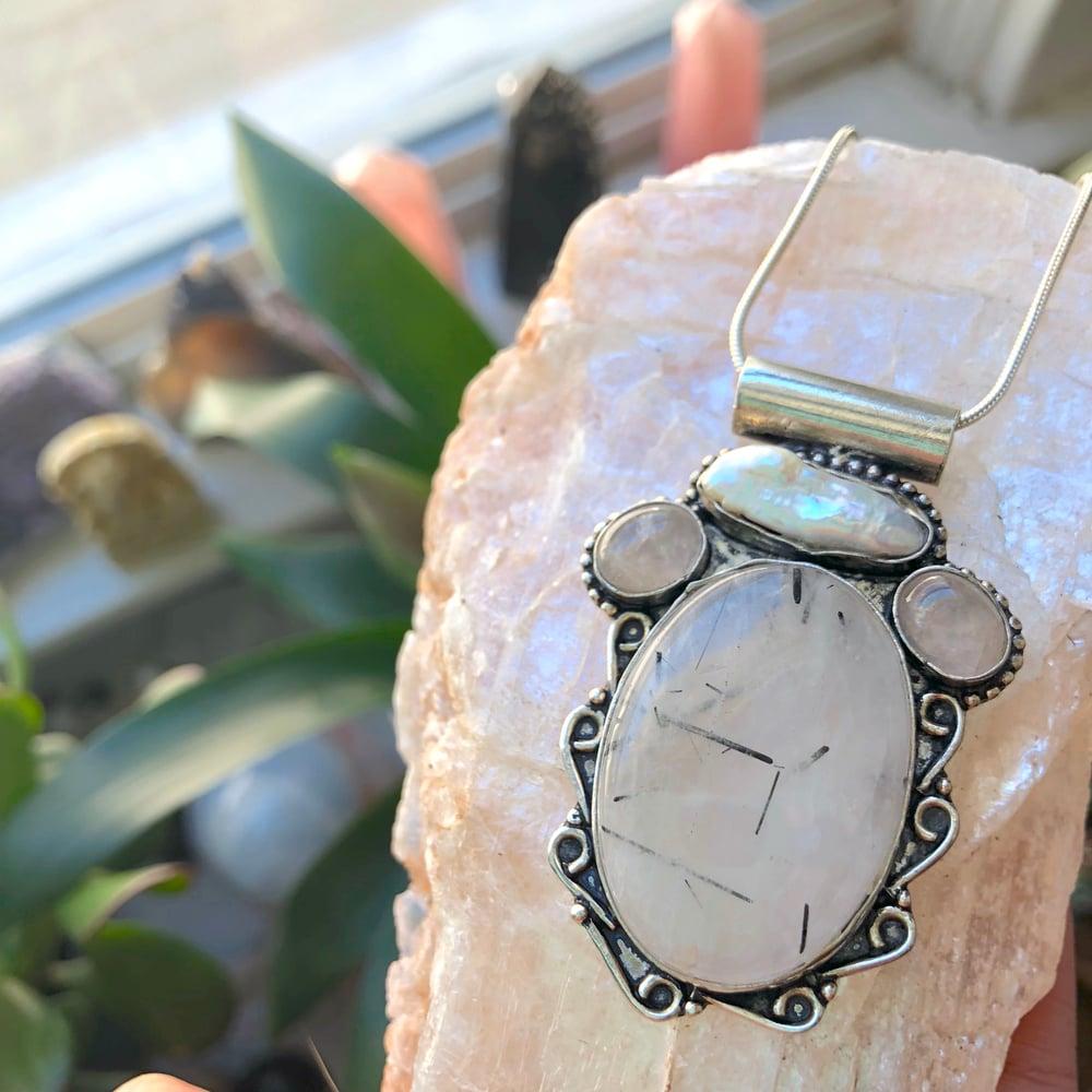 Image of Tourmalated Quartz, Rose Quartz & Biwa Pearl Sterling Silver Amulet