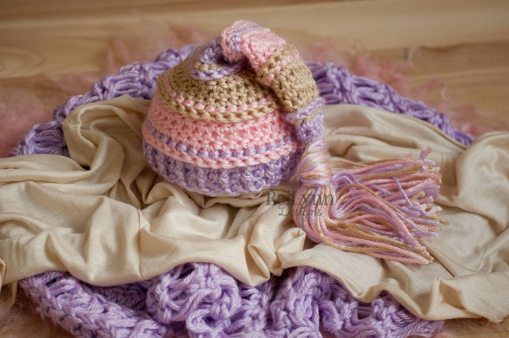Image of Lavender, Bone, and Pink Newborn Tassel Hat