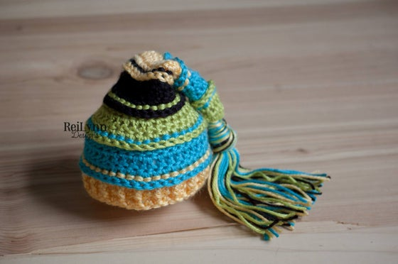 Image of Chartreuse, Turquoise, Yellow and Black Newborn Tassel Hat