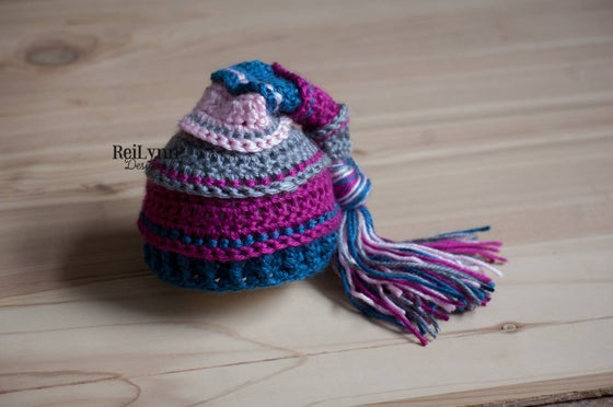 Image of Gray, Fuchsia, Ocean and Pink Newborn Tassel Hat