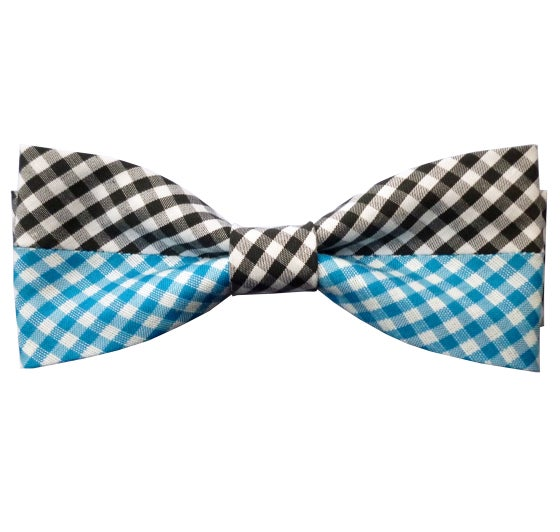 Image of Turquoise gingham mix pre-tied bow tie