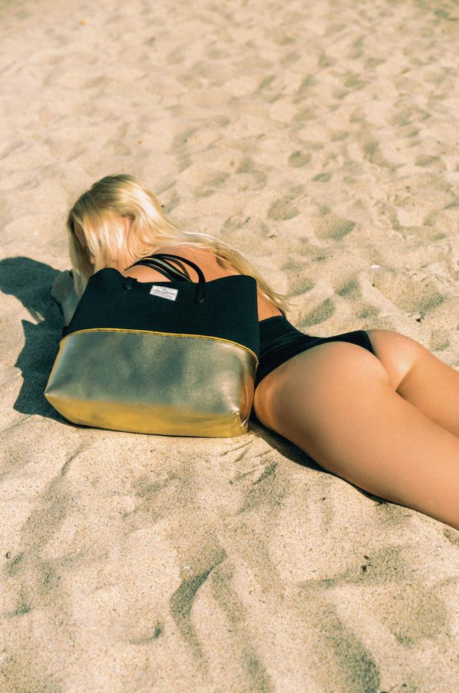 Image of Gold Digger neoprene beach bag tote