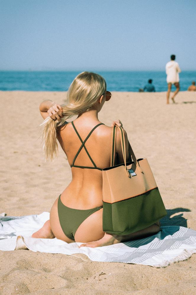 Image of Olive Stoned neoprene beach bag tote