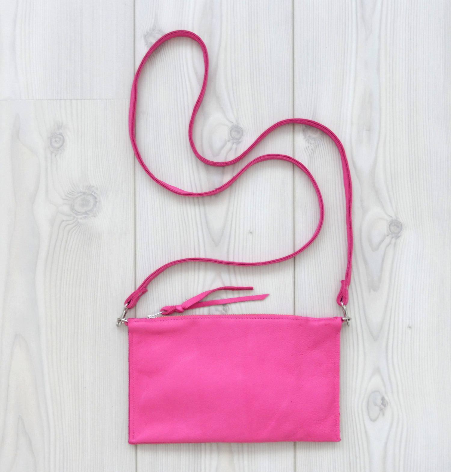 Image of Pink Leather Compartment Zip Bag