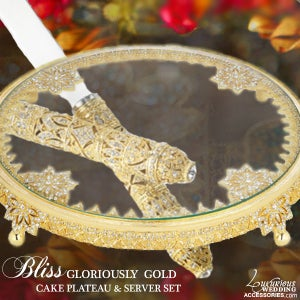 Image of Gloriously Gold Cake Set and Plateau