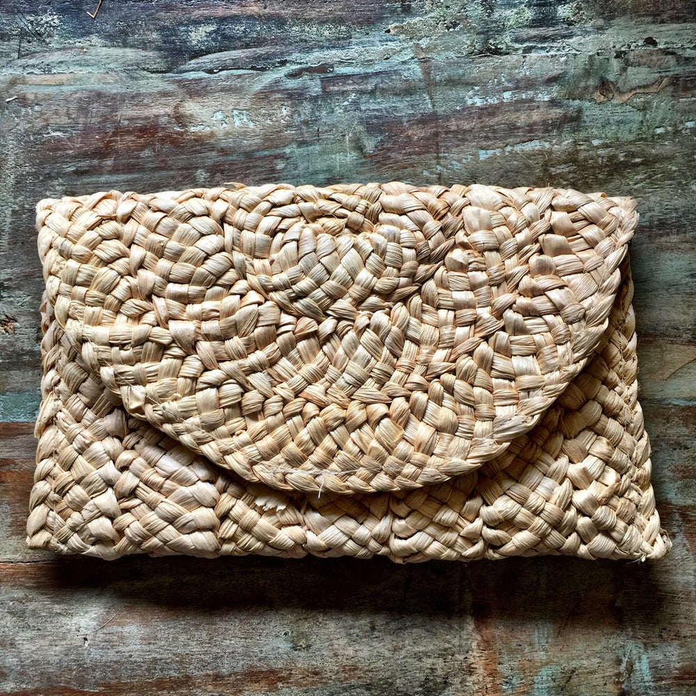 Image of Rattan clutch bag