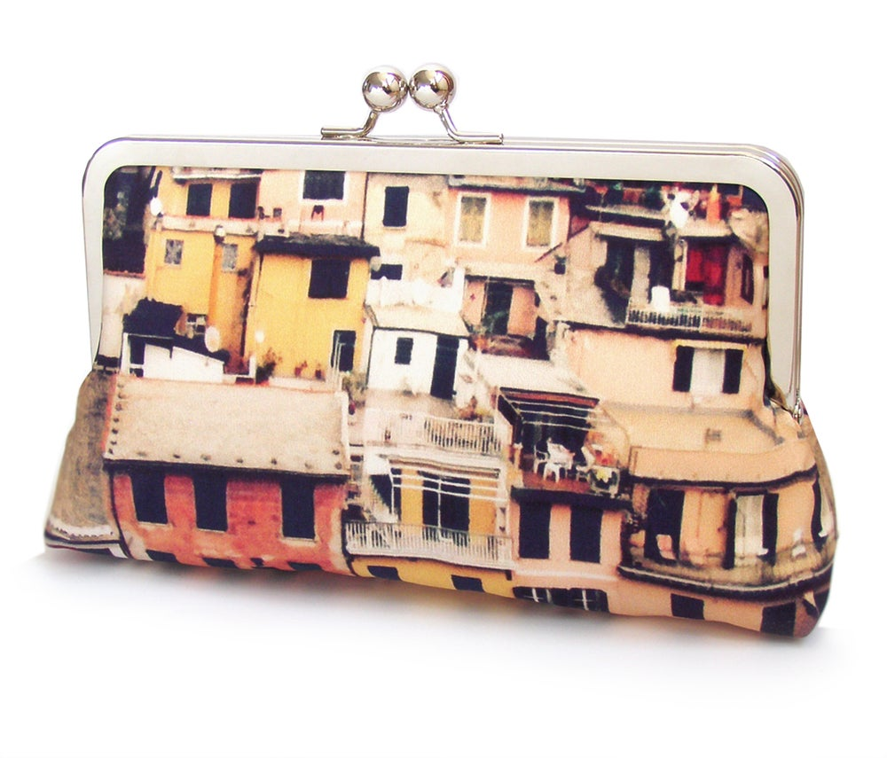 Image of Italian village clutch bag, Cinque Terre