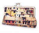 Image of Italian houses clutch bag, Cinque Terre printed purse with silk lining