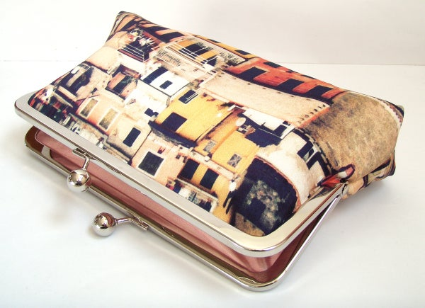 Italian houses clutch bag, Cinque Terre printed purse with silk lining - Red Ruby Rose