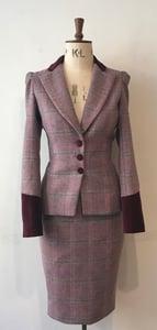 Image of Tweed and velvet bustle jacket