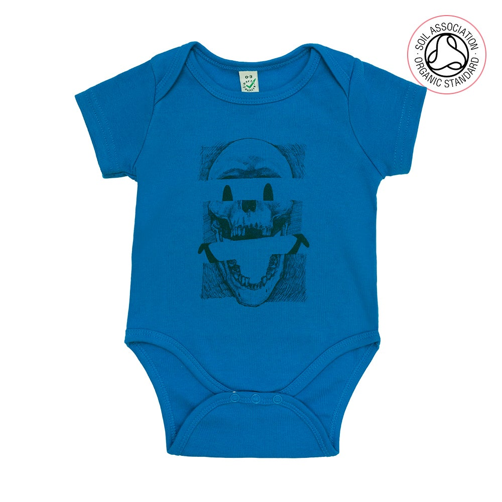 Image of Smiley Skull Infants Blue Baby Grow