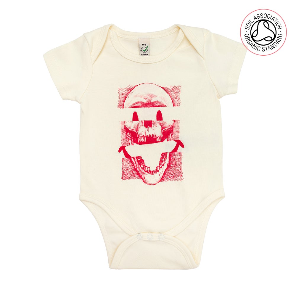 Image of Smiley Skull Infants Cream Baby Grow