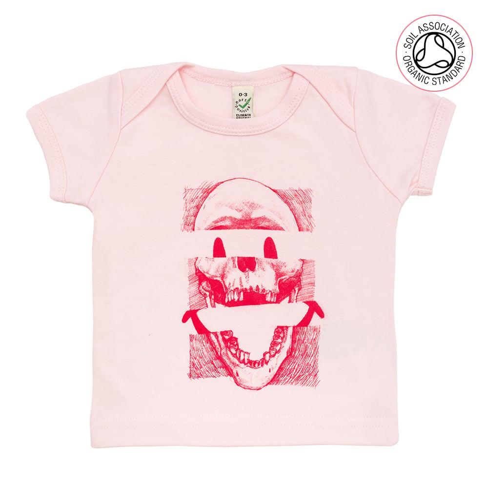 Smiley Skull Infants Pink T-Shirt