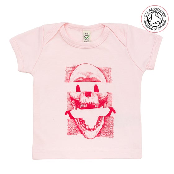Image of Smiley Skull Infants Pink T-Shirt