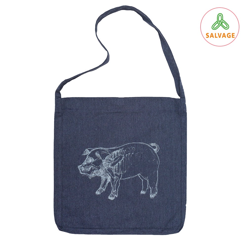 Piggy Navy Tote Bag