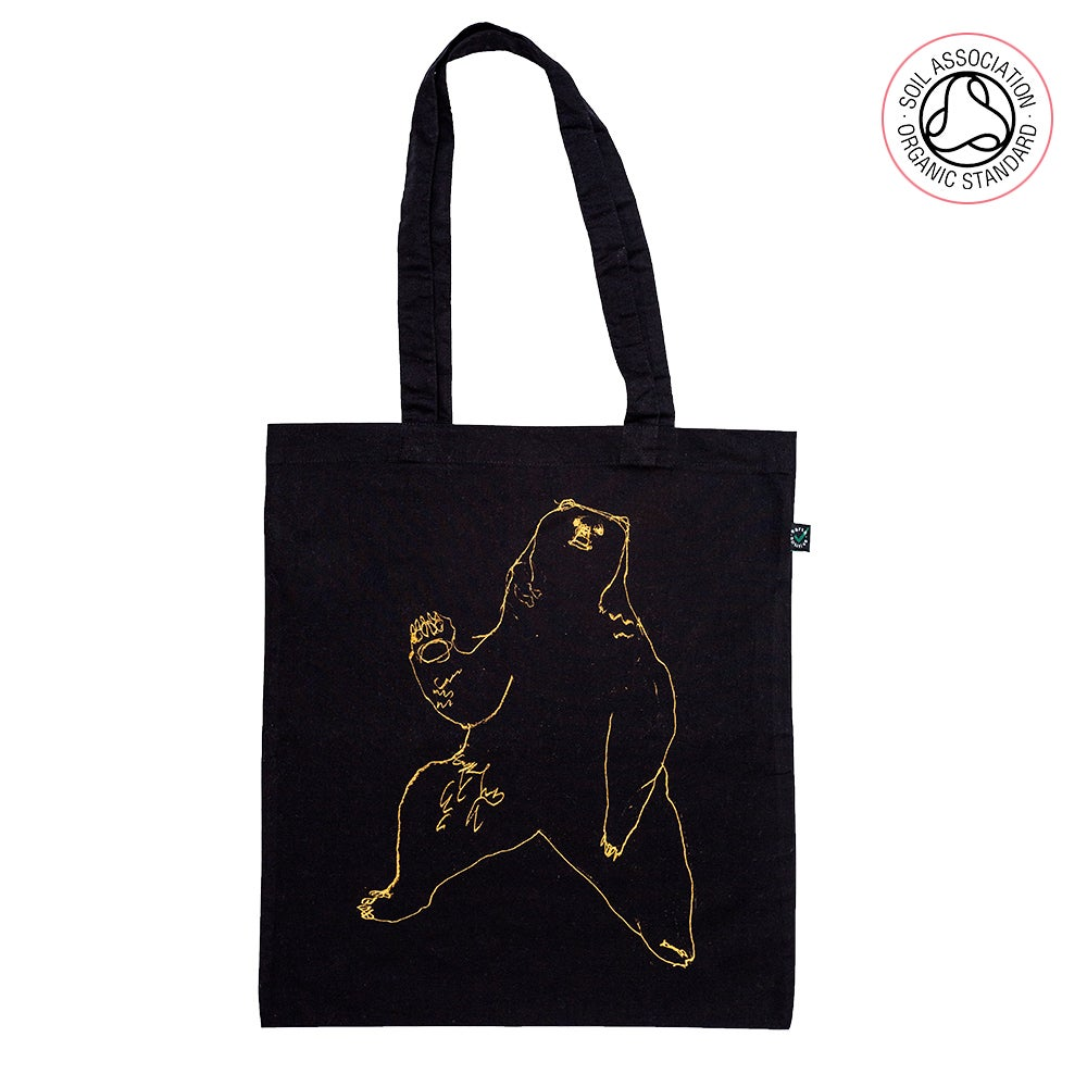 Bear Black Tote Shopping Bag (Organic)