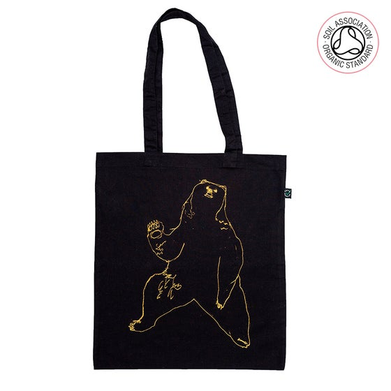 Image of Bear Black Tote Shopping Bag (Organic)