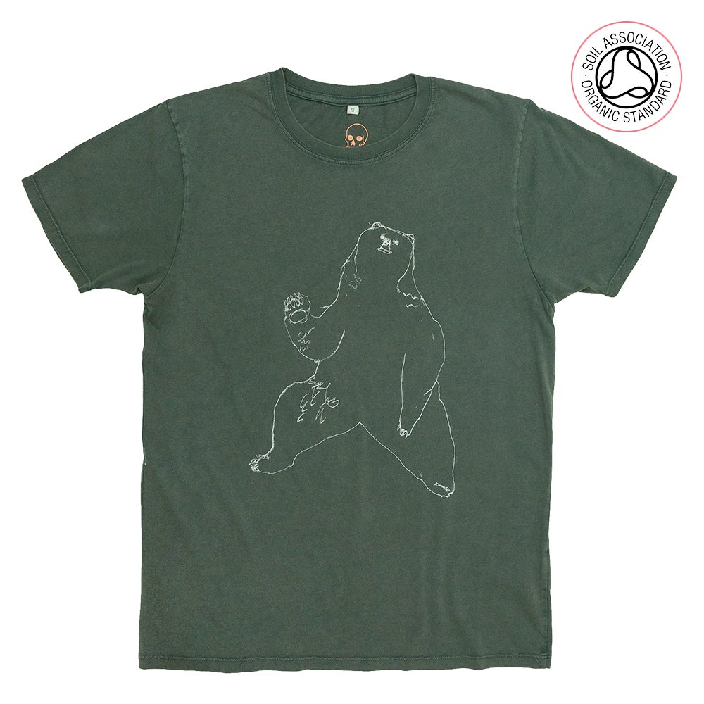 Bear Unisex Stone washed Green T-shirt (Organic)