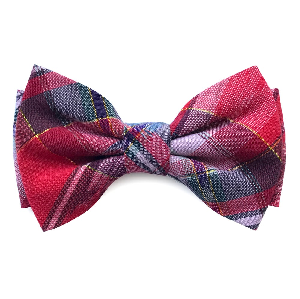 Image of Red Madras pre-tied-bow tie