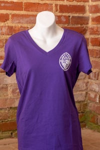 Image of V-Neck T-Shirt with the School Seal Logo