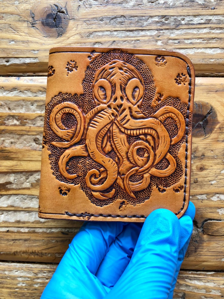 "Image of ""Octopus"" Custom Bi-Fold Wallet with Cash Slot and Four Card Slots"