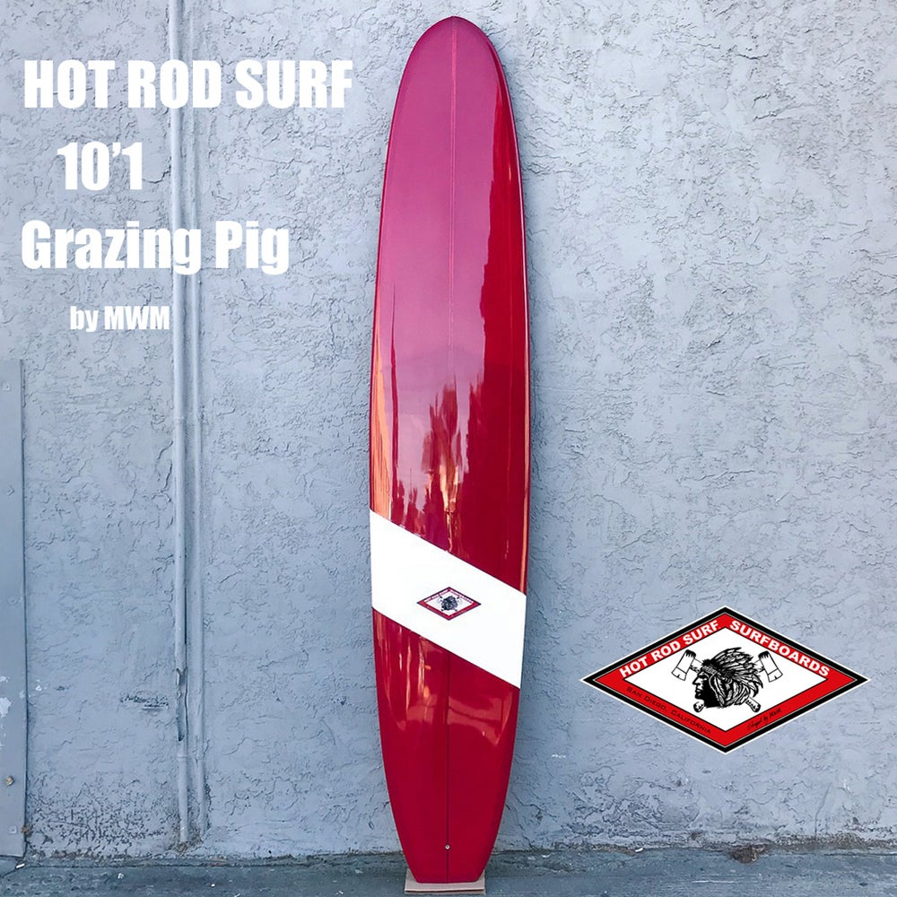 Image of Grazing Ping 10' Surfboard Longboard by HOT ROD SURF ®  – White/ Deep Red