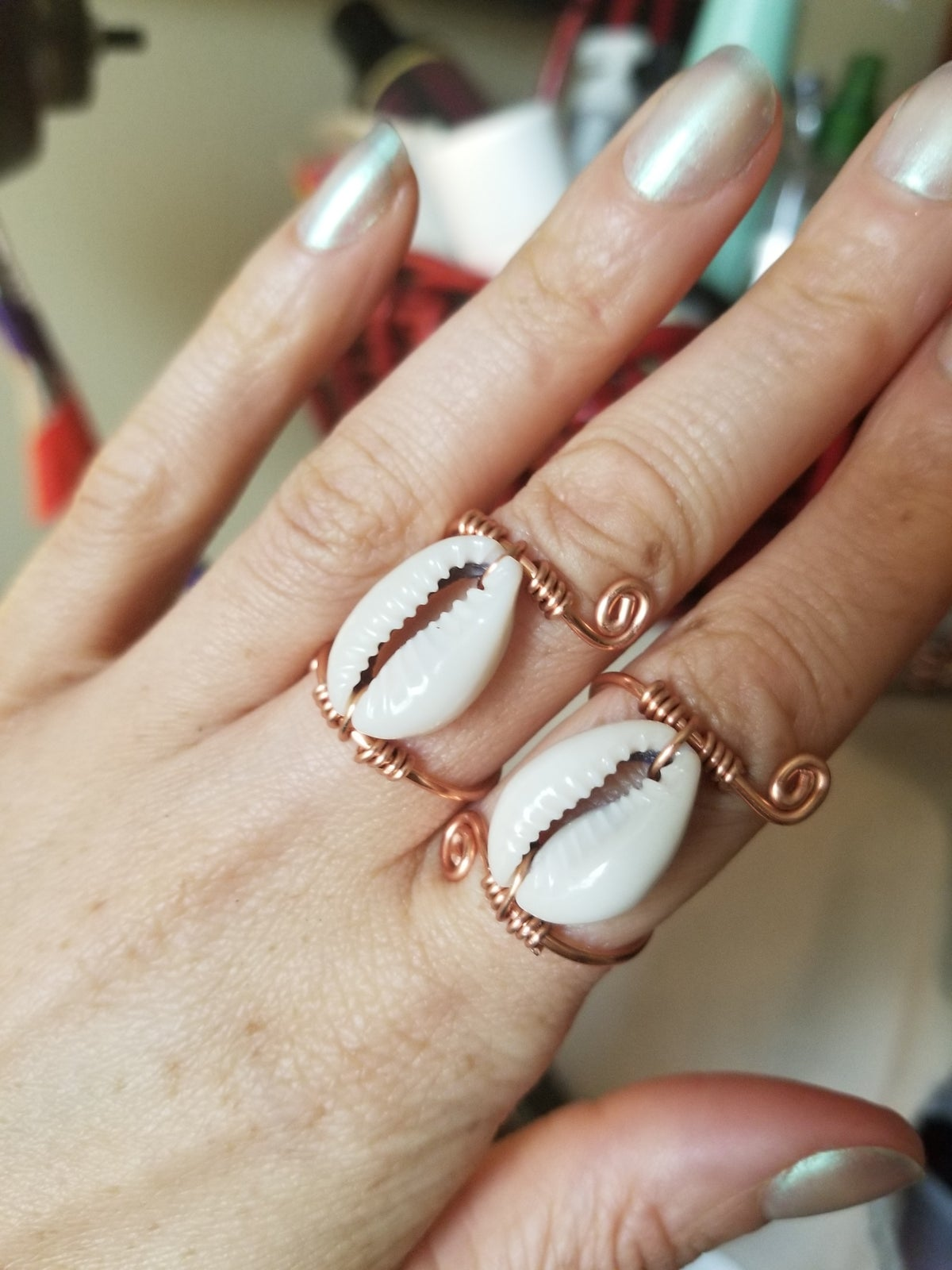 Image of Cowrie shell rings