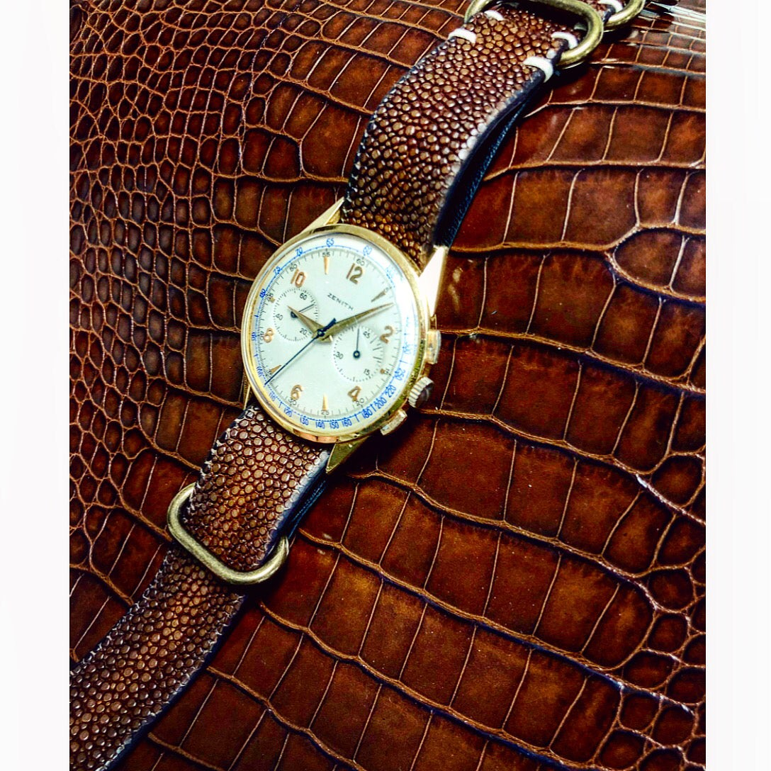 Image of Brown hand patina stingray NATO strap