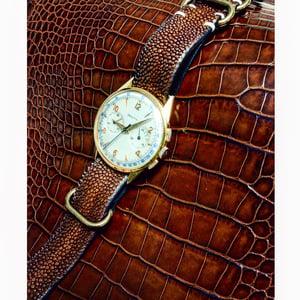 Image of Brown hand patina stingray NATO strap