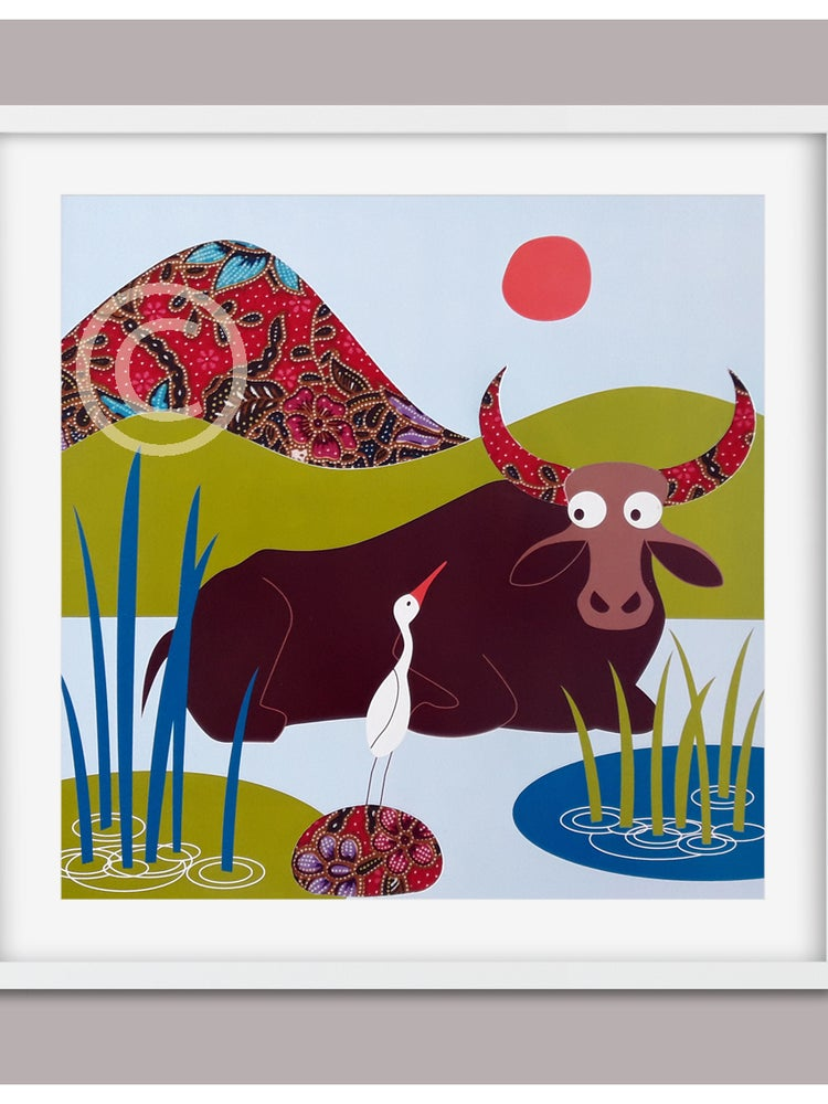 "Image of Original collage ""Water Buffalo + Egret"" titled in French, signed and numbered"