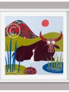 """Original collage """"Water Buffalo + Egret"""" titled in French, signed and numbered"""
