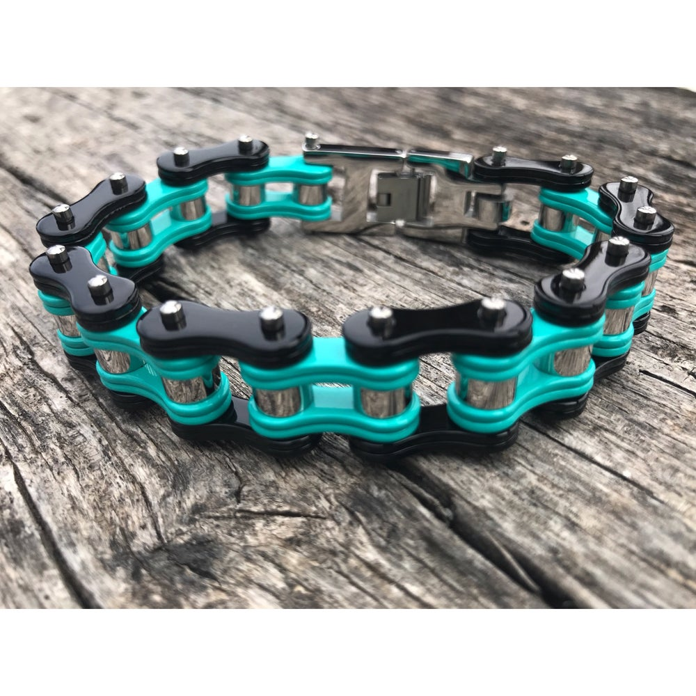 Image of Mint Black and Silver Stainless Steel Chain Bracelet PRE ORDER SHIPS THE MIDDLE OF JULY