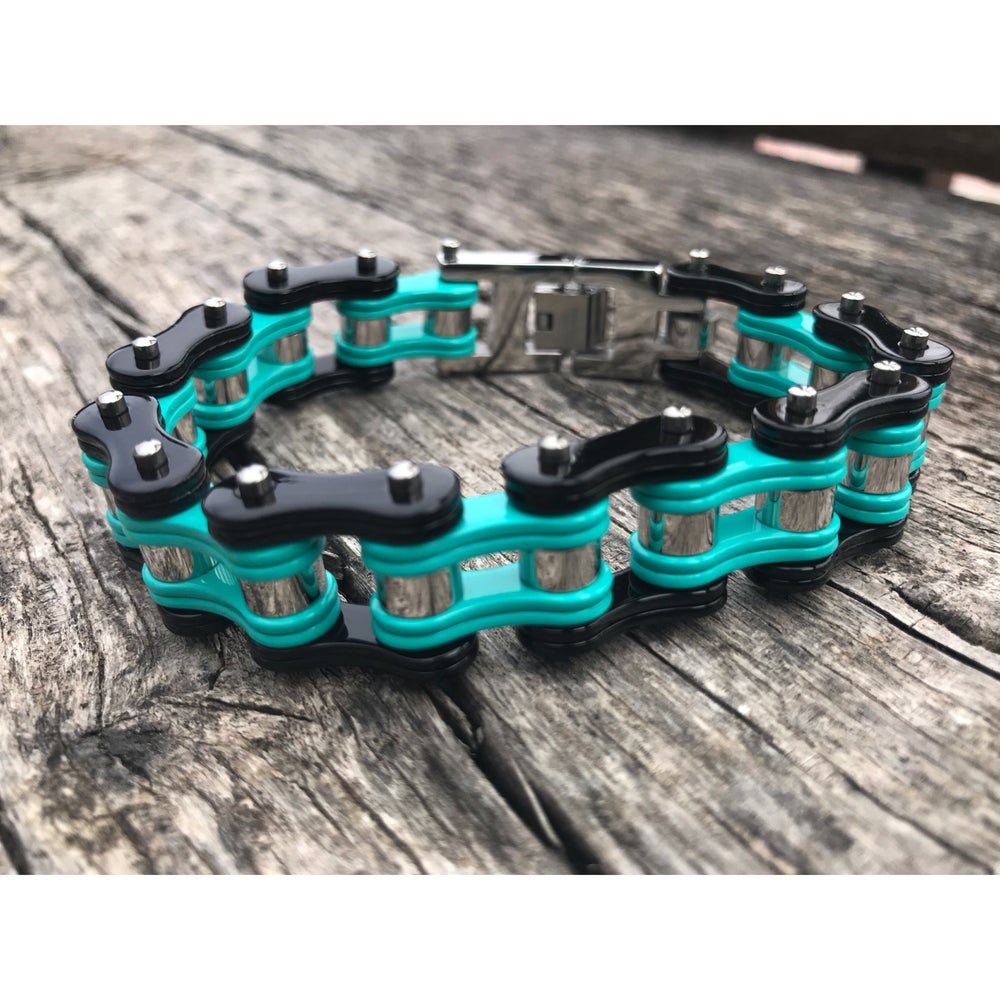 Image of Mint Black and Silver Stainless Steel Chain Bracelet