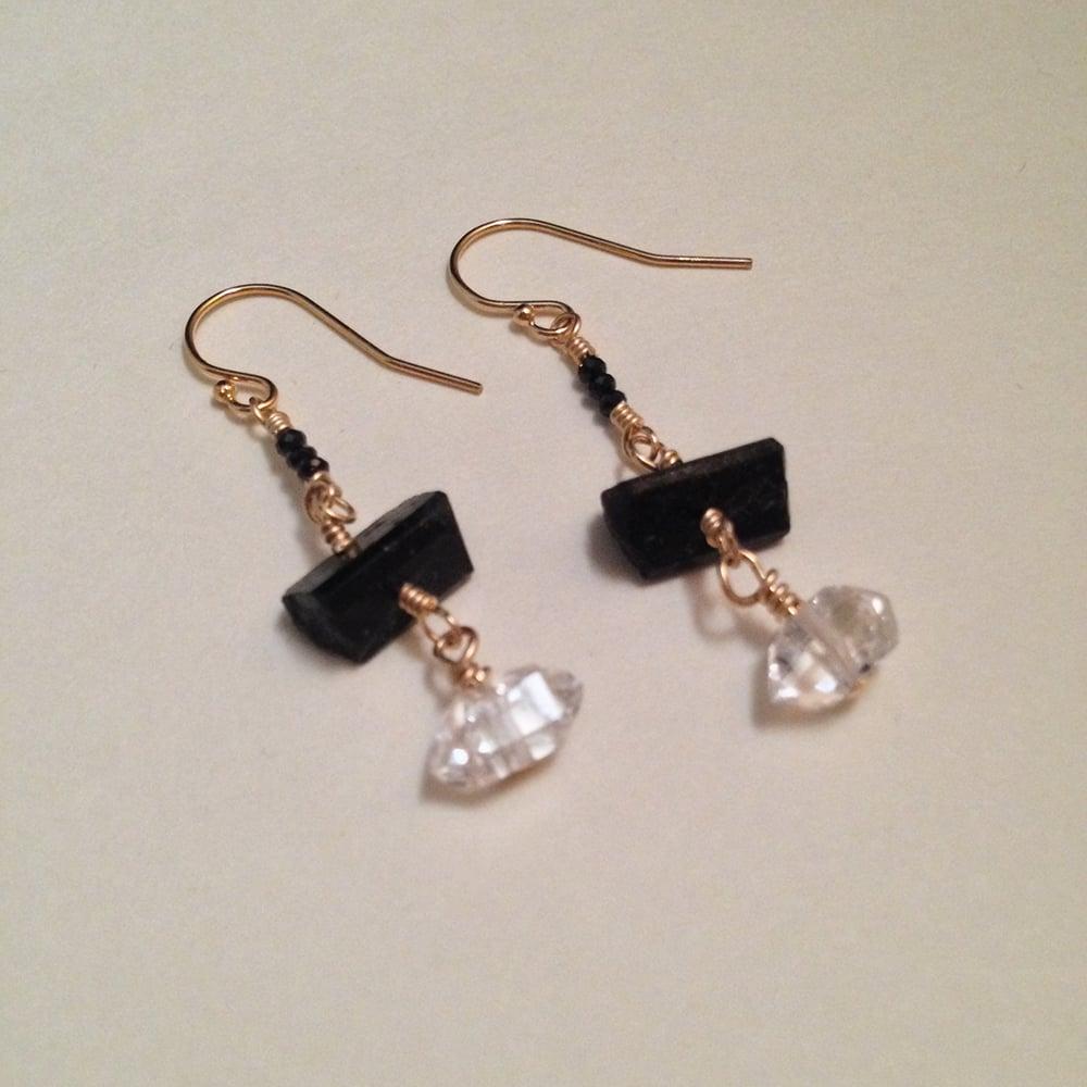 Image of Page of Pentacles Herkimer Diamond Tourmaline Black Spinel Garnet Gemstone Gold Filled Earrings