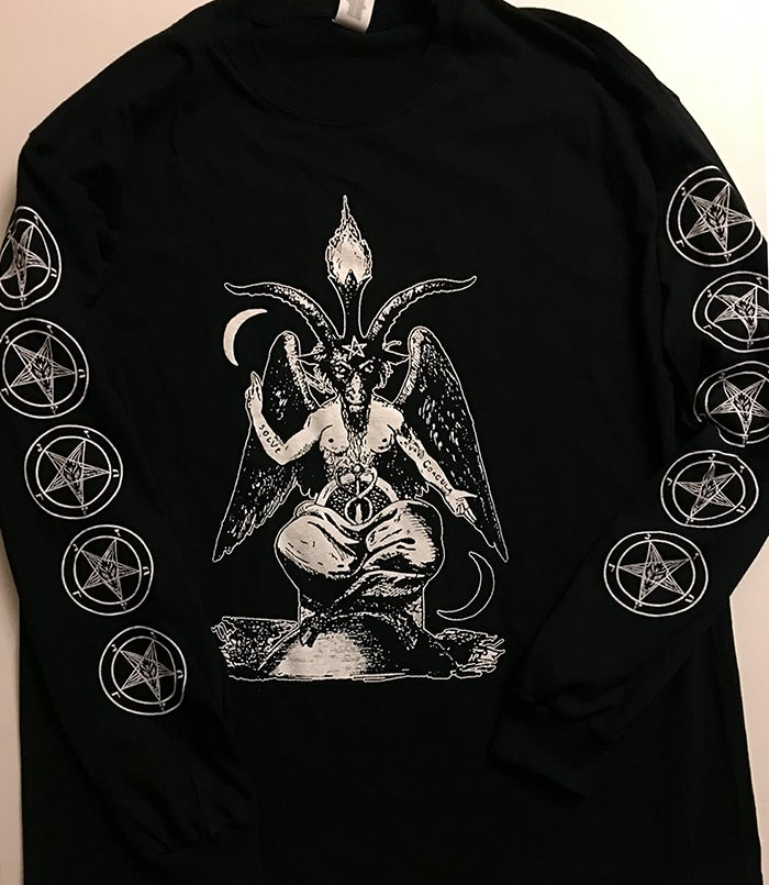Image of Baphomet - Long Sleeve T shirt with Pentagram Sleeve prints