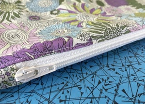 Image of Lilac and blue floral zipped case
