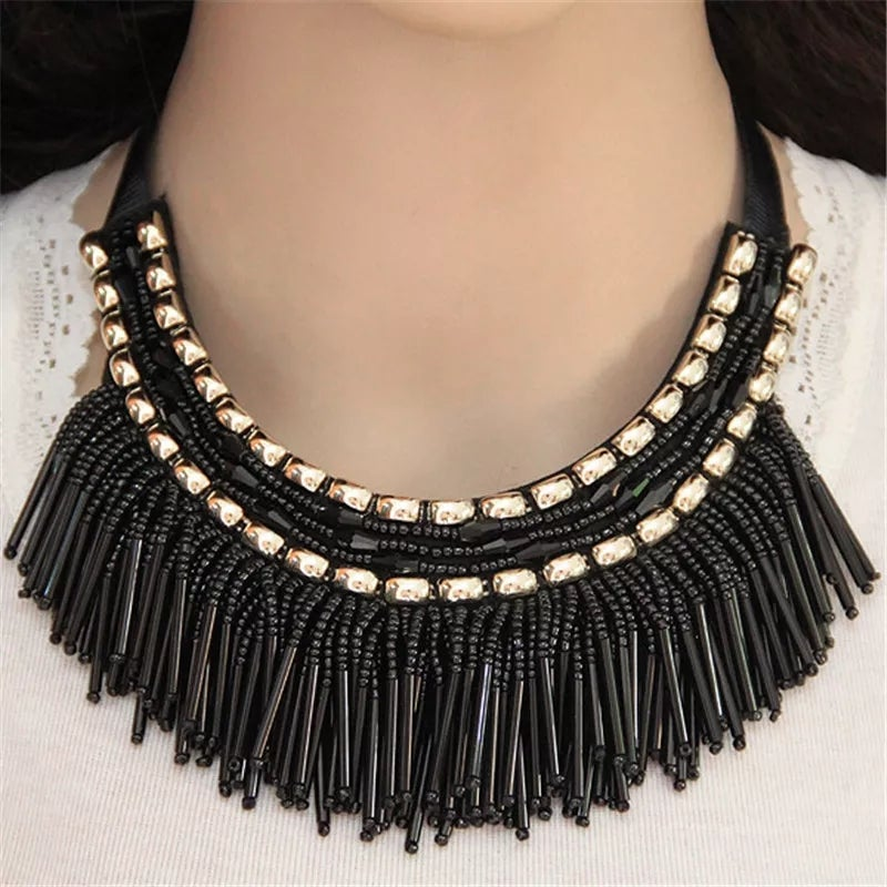 Image of Beaded Fringe Ribbon Tie Choker