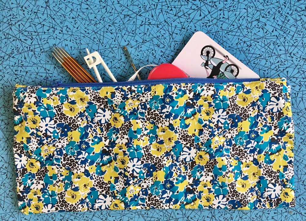 Image of Blue/yellow floral zipped case