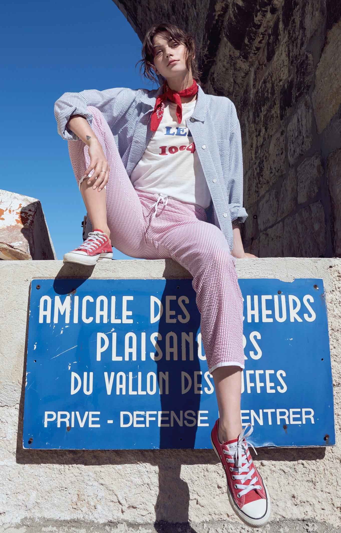 Image of Pantalon seersucker rayé FRAISE 120€ -60%