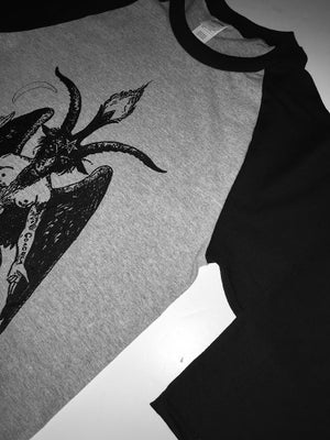 Image of BAPHOMET - Three-quarter sleeves Baseball T Shirt in Sport Grey/ Black