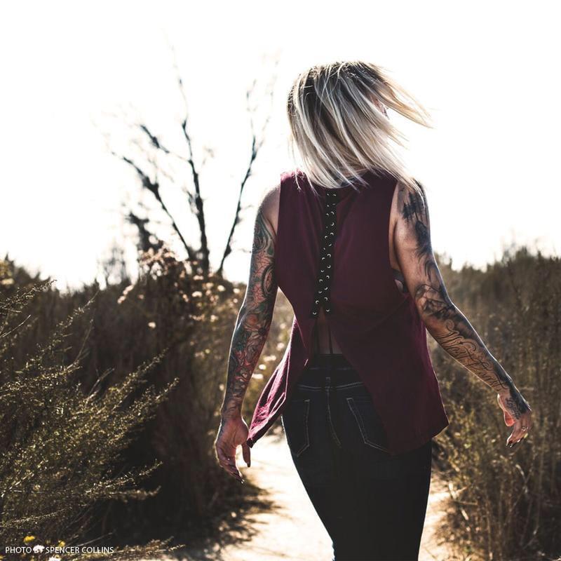 Image of Women's Sullen Fallen Crow shirt burgundy