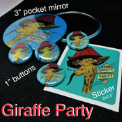 Image of Giraffe Party - Buttons & Pocket Mirrors - CLEARANCE