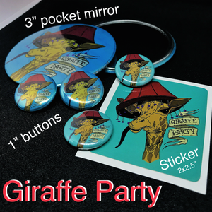 Image of Giraffe Party - Buttons & Pocket Mirrors